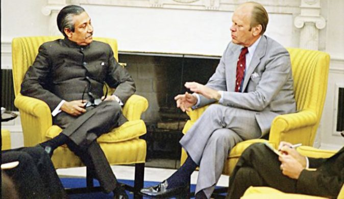 US President Ford hosts Sheikh Mujibur Rahman in the Oval Office in 1974.